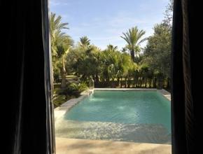 Vue sur piscine hotel lodgek Marrakech